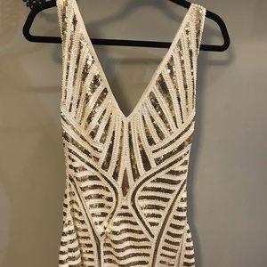 Lulu's White & Gold Sequin Dress